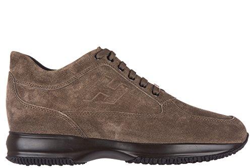 Hogan chaussures baskets sneakers homme en daim interactive h rilievo marron