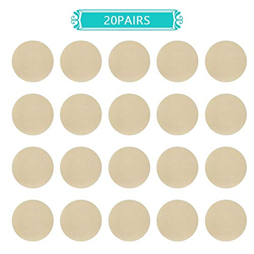 NippleCovers, Disposable Breast Pasties Adhesive Bra Nippleless Cover (Beige 20 Pairs Round)