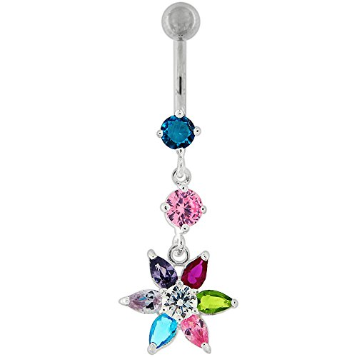 Multi Colored CZ Stone Double Round with Flower Dangling Silver Belly Button Ring Jewelry