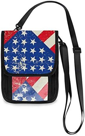トラベルウォレット ミニ ネックポーチトラベルポーチ ポータブル キューバの国旗 アメリカの国旗 小さな財布 斜めのパッケージ 首ひも調節可能 ネックポーチ スキミング防止 男女兼用 トラベルポーチ カードケース