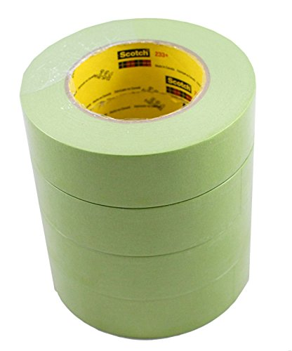 "3M 1-1/2"" 233+ GREEN AUTO MASKING TAPE-4 Roll-PAINT CAR"