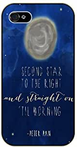 Second star to the right ans straigh on 'til the morning - Peter Pan - For Case Iphone 4/4S Cover black plastic case / Inspiration Walt Disney quotes