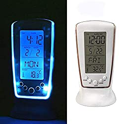 Dikley Digital Clock with Blue LED Backlight LED Digital Alarm Clock Snooze Function Digital Thermometer Desk Clock Display Time Date for Living Room Bedroom Kitchen Office