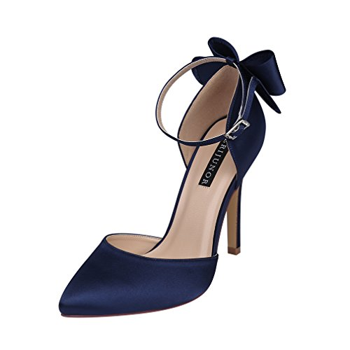 ERIJUNOR E1966A Women High Heel Bow Ankle Strap Evening Party Dance Wedding Satin Shoes Navy Size 6 - Bow Heels Shoes