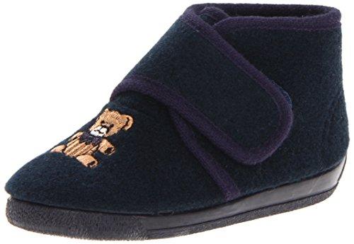 lipper Navy Teddy Bear With Non Slip Rubber Sole 5 M US Toddler (Bear Footwear)