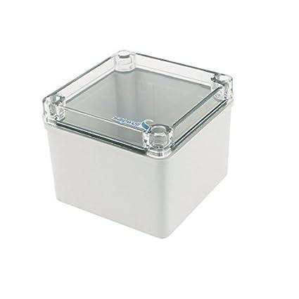 eDealMax 125 x 125 x 100 mm cubierta transparente caja sellada a prueba de agua caja
