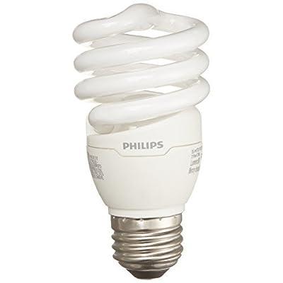 Philips Energy Saver Compact Fluorescent T2 Twister Household Light Bulb: 2700-Kelvin, 13-Watt (60-Watt Equivalent), E26 Medium Screw Base, Soft White, 4-pack, 417079