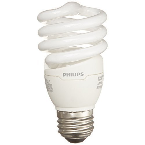 Philips Energy Saver Compact Fluorescent T2 Twister Household Light Bulb: 2700-Kelvin, 13-Watt (60-Watt Equivalent), E26 Medium Screw Base, Soft White, 4-pack, 417079