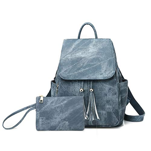 Trend taglia Blu Borsa Handbags tracolla Backpack in Dltey colore unica nappa Leather blu Pu Fashion a qEwSO