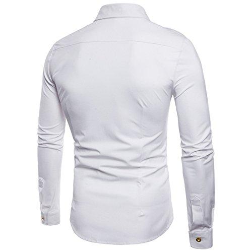 moichien trabajo con blanca de manga Men Ai de botones larga piloto camisa de Camisa wCpR5Xx