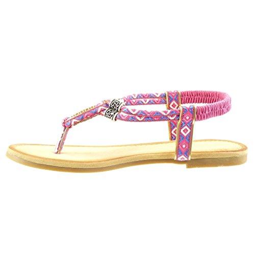 Angkorly - Zapatillas de Moda Sandalias correa mujer trenzado bordado Talón Tacón ancho 1.5 CM - Fushia