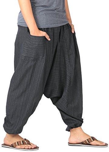 21a508b304c1c CandyHusky Mens Stripe Cotton Summer Baggy Boho Aladdin Hippie Yoga Harem  Pants