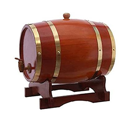 5 Liter Whiskey Barrel Dispenser Wood Oak Wine Barrel Decanter for Serving Table Home Accent Display Storage of Spirits Liquors White Whiskey