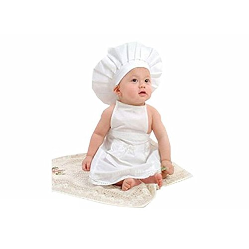 [Newborn Unisex Baby White Cook Chef Costume Photos Photography Prop Hat + Apron Outfit (chef)] (Chef Costumes For Kids)