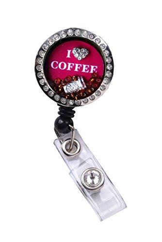 Memory Locket Floating Charms Retractable Reel ID Badge Holder (Love Coffe_Magenta Locket Badge)