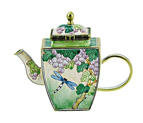 Kelvin Chen Dragonfly and Grape Enameled Miniature Teapot with Hinged Lid, 3.5 Inches Tall