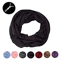 Infinity Scarves with Zipper Pocket for Women,Girls- Soft Stretchy Lightweight Scarf Wrap … …