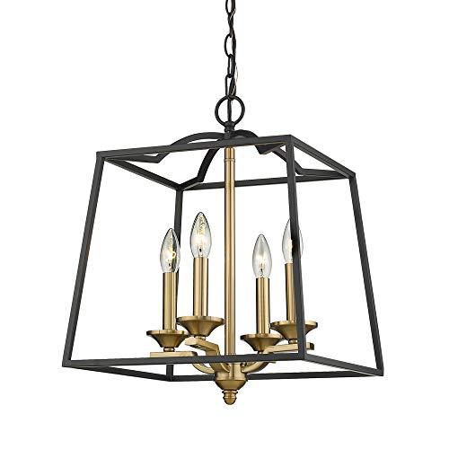 Emliviar 4 Light Foyer Chandelier, Lantern Pendant Light Cage Hanging Light for Entryway Dining Room, Black and Gold Finish, 2086P-4 BG