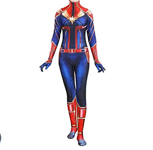 High End Halloween Costumes Toddler (New Captain m Cosplay Jumpsuit Costume for Women Child Costume Bodysuit Cosplay for Birth and Halloween (Adult-L))