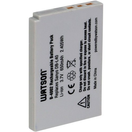 Watson DB-L40 Lithium-Ion Battery Pack (3.7V, 650mAh) -Replacement for Sanyo DB-L40 Battery Sanyo VPC-HD2 , (Db L40 Replacement Battery)