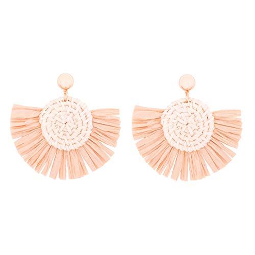 - RIVERTREE Rattan Tassel Earrings for Woman Boho Handmade Straw Woven Drop Dangle Earring Hoop Wicker Knit Raffia Fringe