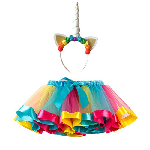 FENICAL Disfraz de Unicornio para Niñas Diadema Unicornio Floral con Oreja y Falda Tutú de Arco Iris Disfraz para Fiesta Azul Cielo