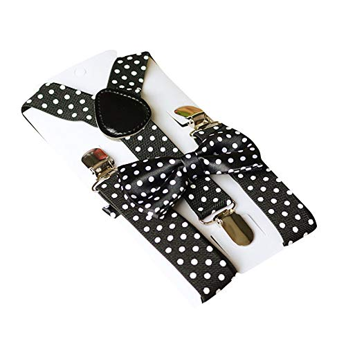 Baby Kids Suspenders & Bowtie Set, Clearance Sale! Iuhan 2Pcs Adjustable Polka Dots Suspender Set for Boys and Girls Wedding Matching Braces Variety of Colors (Black) ()