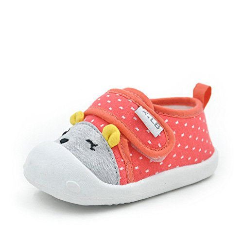 MK MATT KEELY Baby Shoes For Boys Girls First Walkers Cute Red Bear Toddler Sneakers Prewalkers Soft Rubber Sole,Newred,US size 5:Insole length:13cm/5.12 inches
