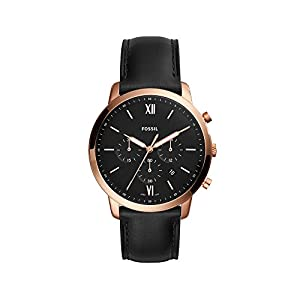 Fossil Men's Rose Goldtone Case and Leather Strap Watch