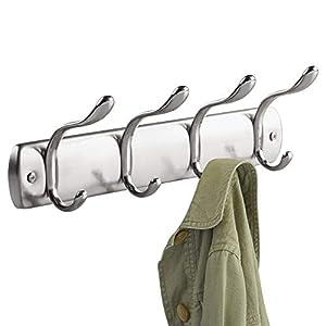 InterDesign Bruschia Wall Mount Rack, 4-Hooks, Brushed Nickel/Chrome