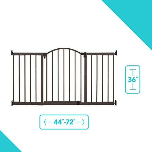 """Summer Metal Expansion 6-Foot-Wide Extra Tall Walk-Thru Baby Gate, Bronze Finish – 36"""" Tall, Fits Openings of 44"""" to 72"""" Wide, Baby and Pet Gate for Extra Wide Doorways"""