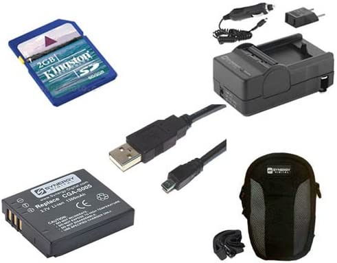 Panasonic Lumix DMC-FX07 Digital Camera Accessory Kit Includes: USB8PIN USB Cable SDM-161 Charger KSD2GB Memory Card SDC-21 Case SDCGAS005 Battery