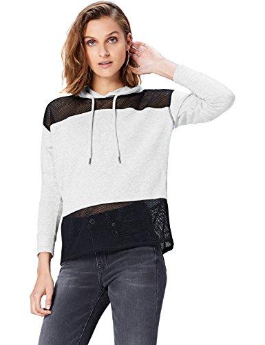 Grigio Marl Inserti e Light Felpa Grey Activewear Mesh in con Cappuccio Donna wHFxnIP8