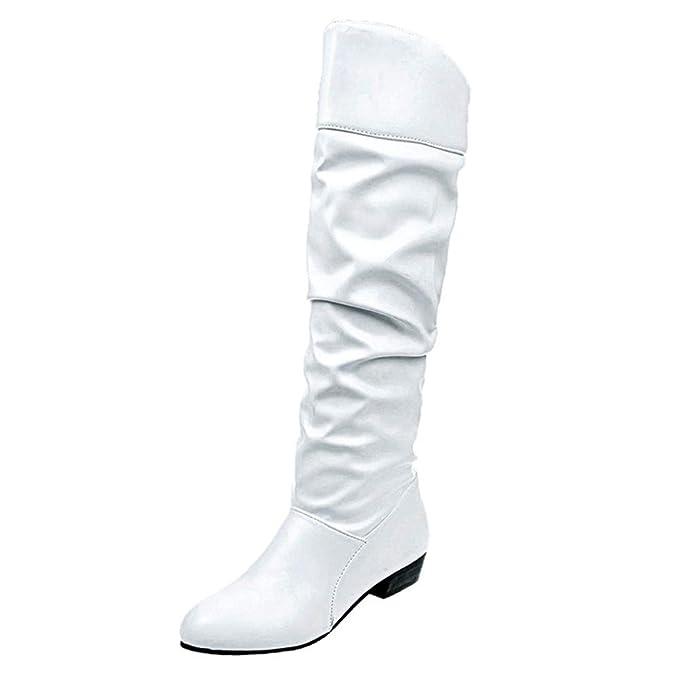 Moda Calzado Botas Altas para Mujer Piel Botas Botas hasta Rodilla Botas de Cuero Planas en