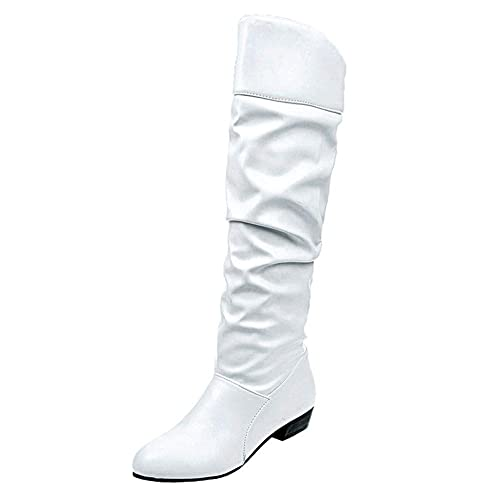 18 Zapatos de otoño Invierno cálido Vestido de Mujer Botas hasta la Rodilla Ocasionales, Plano de Cuero de la PU Zapatillas Slip-on Zapatos de Fiesta: ...
