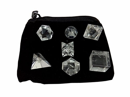 Clear Crystal Quartz Geometric Shape Set with Bag