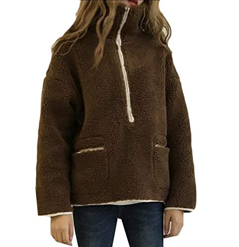 Coat Top Women Fall AngelSpace Stand Coffee Fuzzy up Winter Pullover Collar Zips fUwZwvzq