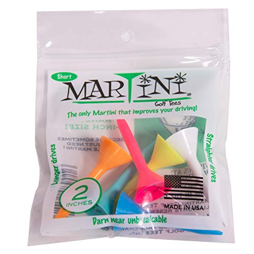 "Martini Golf Tees 2"" Durable Plastic Tees (6-Pack), Assorted Colors"