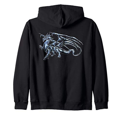 Winged Dragon Tribal Tattoo Light Blue Silhouette Image Zip Hoodie