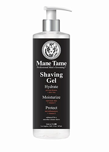 Mane Tame Shaving Gel 15.8oz - Clear, Natural Formula with Aloe Vera, Vitamin E, Vitamin C! Excellent for Precision Edge-ups and Line-ups. Made in USA! Fresh scent, leaves skin feeling soft and firm!‬ by Mane Tame Professional Men's Grooming