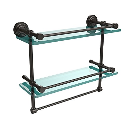 16-GAL-ORB 16-Inch Gallery Double Glass Shelf with Towel Bar, Oil Rubbed Bronze ()