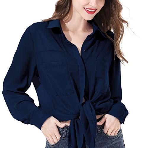 OMSJ Women Button Down Shirts Long Sleeve Chiffon Office Casual Blouses (L, 839DarkBlue)