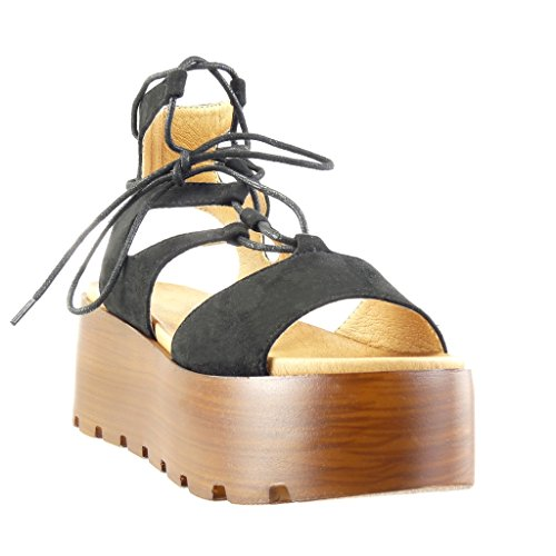 Angkorly - Scarpe da Moda sandali Mules zeppe donna merletto multi-briglia legno Tacco zeppa piattaforma 6.5 CM - Nero