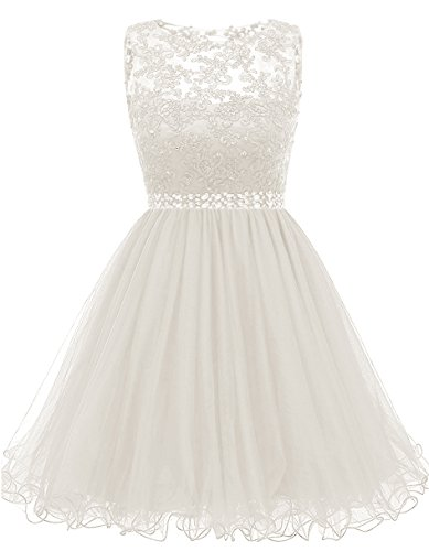 (Himoda Lace Beaded Homecoming Dresses Sequined Appliques Cocktail Prom Gowns Short H010 0 Ivory)
