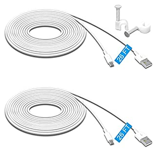 2 Pack 26FT Power Extension Cable Compatible for Wyze Cam Pan,WyzeCam,Kasa Cam.YI Dome Home Camera,Furbo Dog,Nest Cam,Oculus Go,Netvue, Durable Charging and Data Sync Cord for Home Security Camera