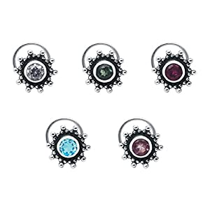 Shine Jewel 5 Piece Pack Of Nose Pin Multi Colorful 925 Sterling Silver CZ Stone