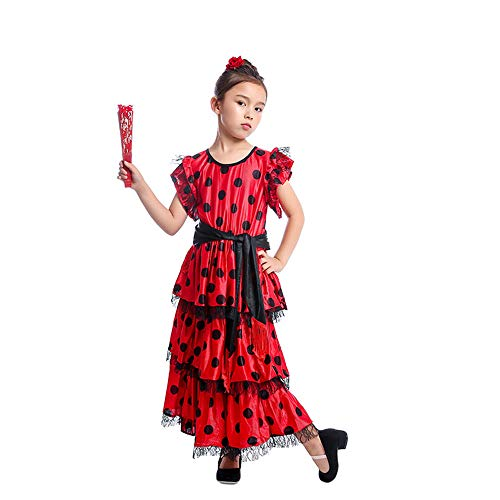 HongH Kids Spanish Flamenco Dress Princess Girls Polka Dot Belly Bullfight Senorita Child's Dance Costumes Outfit Folding Fan Headwear S