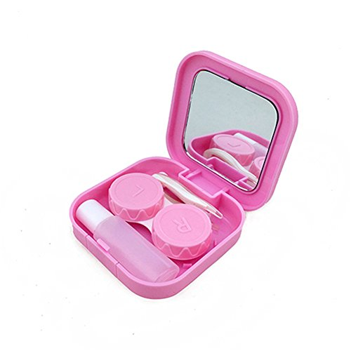 Potato001 Portable Contact Lens Case Container Travel Kit Set Storage Holder Mirror Box (Pink)