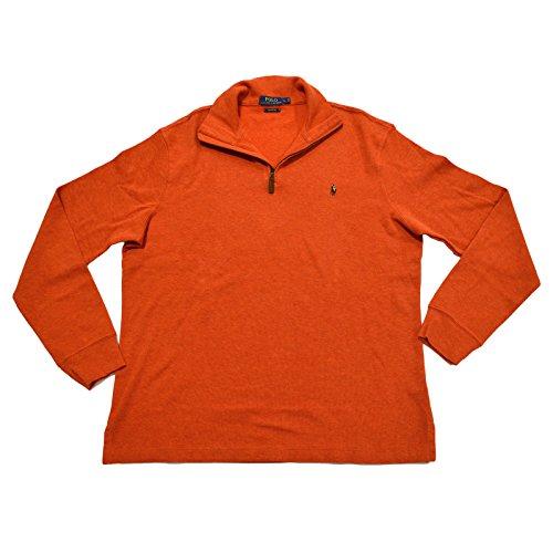 Polo Ralph Lauren Men's Estate Rib Half Zip Sweater, XL, Varsity - Polo Lauren Orange Ralph
