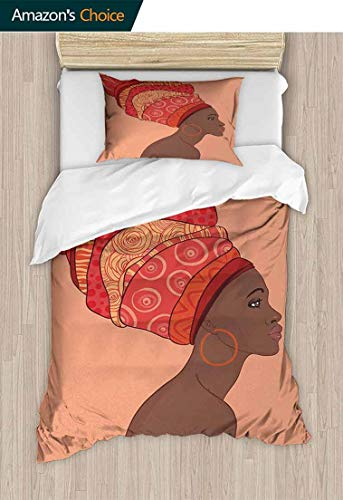 Woman Modern Pattern Printed Duvet Cover, Exotic Young Native Girl with Traditional Turban Folk Art, 100% Cotton Beding Linens for Kids Children,47 W x 59 L Inches, Salmon Coral Red Chocolate